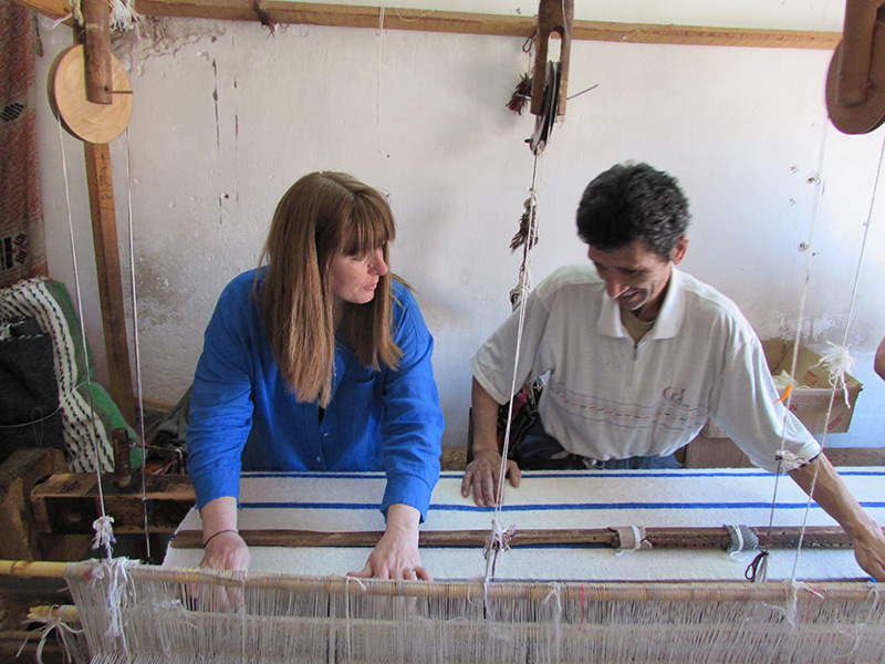 Founder Jenny Lockton on one of her many trips visiting artisans in Morocco.